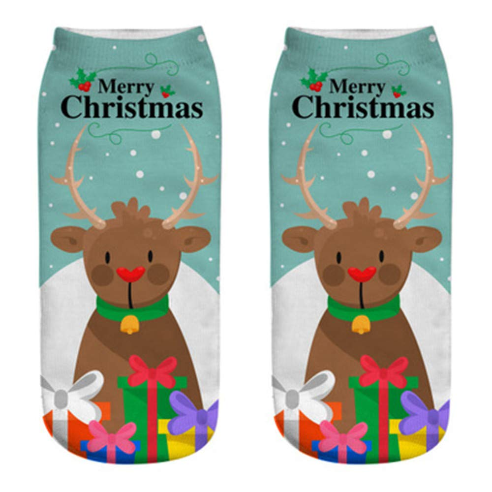 BCDshop Soft Christmas Moose Santa Snowflake Print Ankle Socks-Gift Idea for Women and Men,Clearance