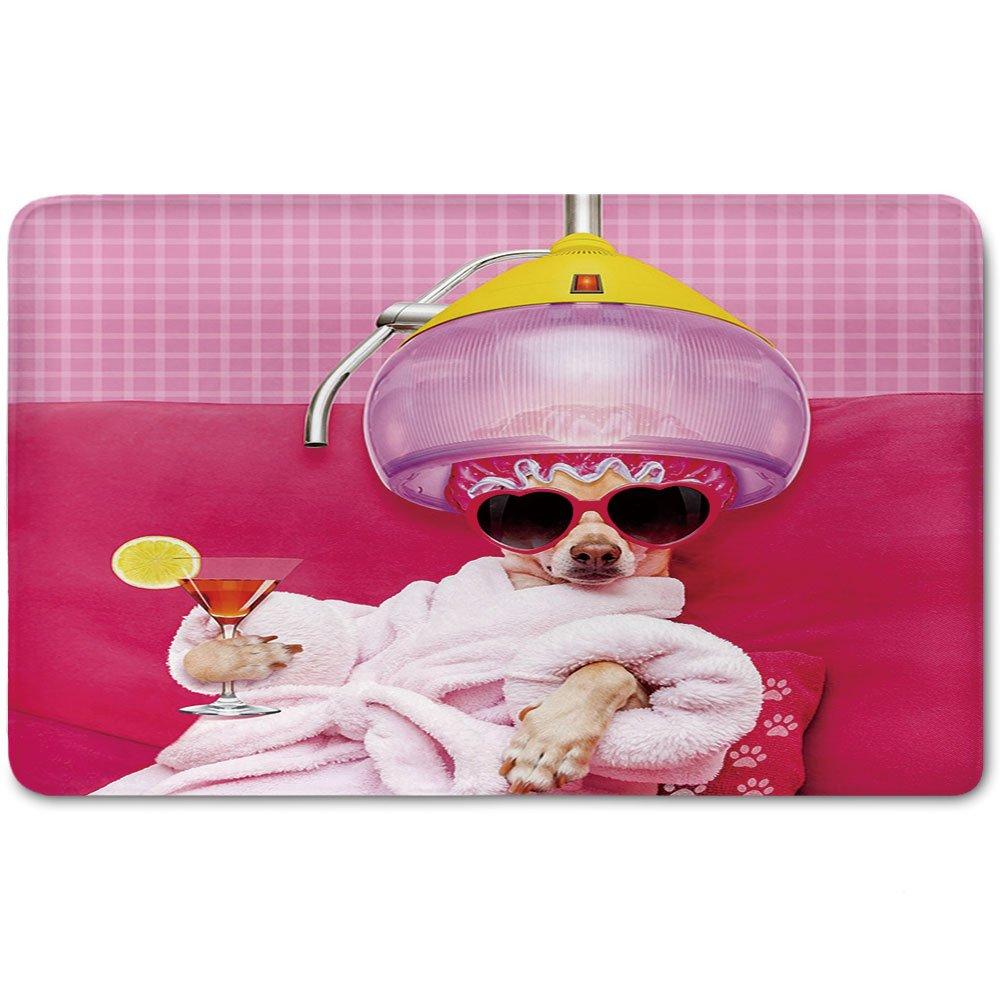 Memory Foam Bath Mat,Funny,Chihuahua Dog Relaxing and Lying in Wellness Spa Fashion Puppy Comic Print DecorativePlush Wanderlust Bathroom Decor Mat Rug Carpet with Anti-Slip Backing,Magenta Baby Pink