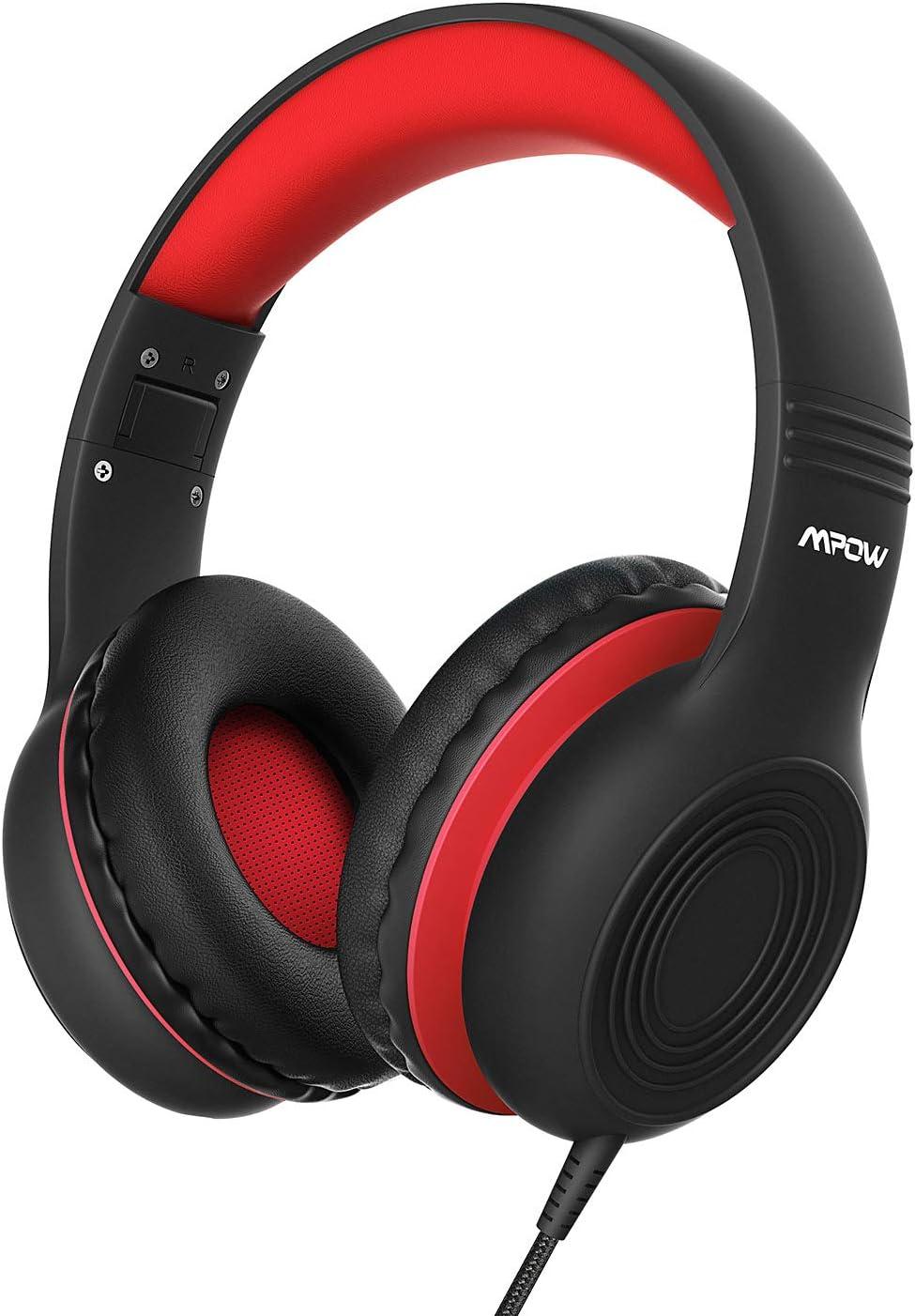 Mpow CH6 Auriculares para niños, Volumen Limitado en el oído Auriculares para niños con Conector de Audio de 3.5 mm para niños, Auriculares con Cable Ajustable y Plegable con micrófono, Negro Rojo