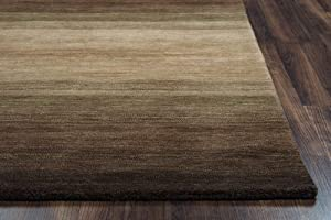 Rizzy Home Platoon Collection Wool Area Rug, 5' x 8', Brown/Ivory/Khaki Stripe
