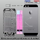 Coque Arrière avec Châssis pour iPhone 5S Noir / Gris Sidéral - Boutons, Tiroir Sim et outils fournis.