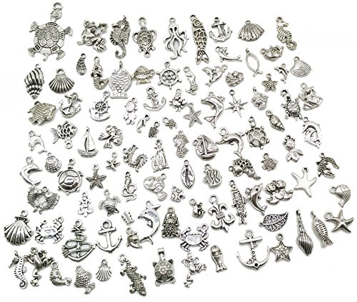 Pack of 100 Mixed DIY Antique Ocean Fish & Sea Creatures Pendants Charms for Crafting,Bracelet Necklace Jewelry Findings Jewelry Making (Fish Charms)