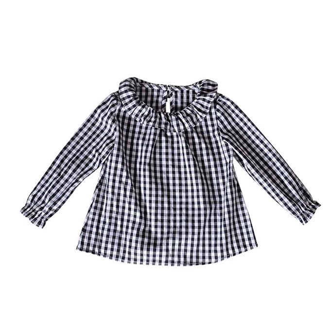 QUICKLYLY Camisetas de Bebé Niñas Manga Larga Floral Volantes Cuadros Pull-Over Sudaderas para Blusas