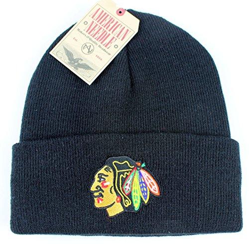 Black Basic Knit Beanie - Chicago Blackhawks NHL American Needle Basic Beanie Knit Hat - Black