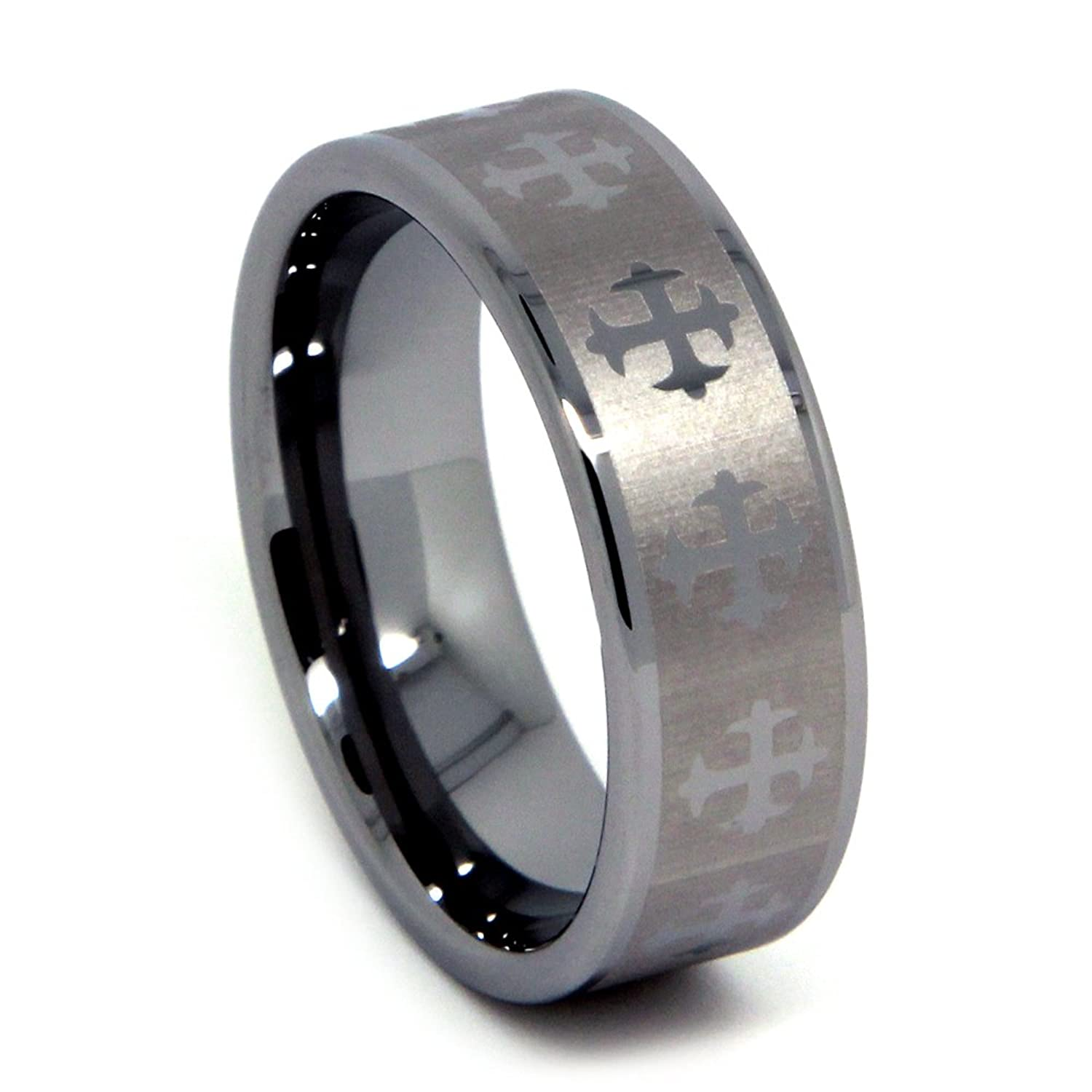 Tungsten Wedding Band Carbide Ring For Men With Gothic Crosses Flat Top 8mmamazon: Wedding Rings Tungsten Crosses At Websimilar.org