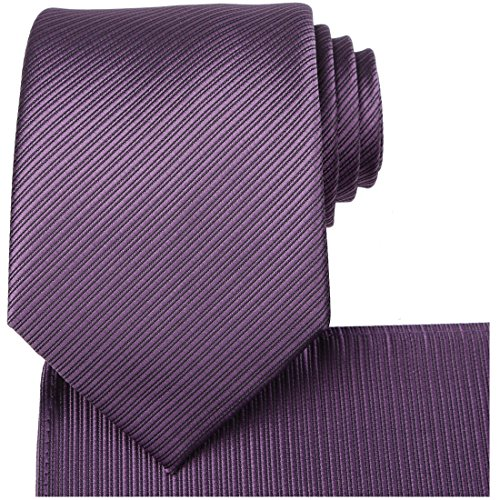 KissTies Plum Purple Necktie Set Solid Striped Tie + Pocket Square