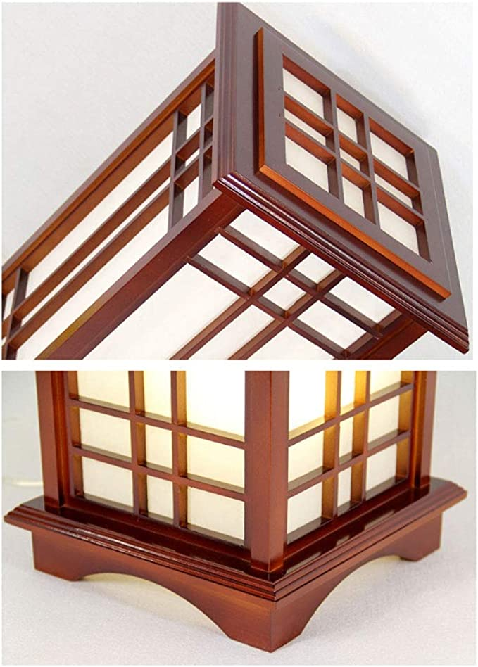 Lámparas de Pie Lámpara Vertical Piso Lámpara de pie de madera maciza de madera maciza de roble de forma cuadrada de estilo japonés moderno con E27 LED de luz blanca cálida para
