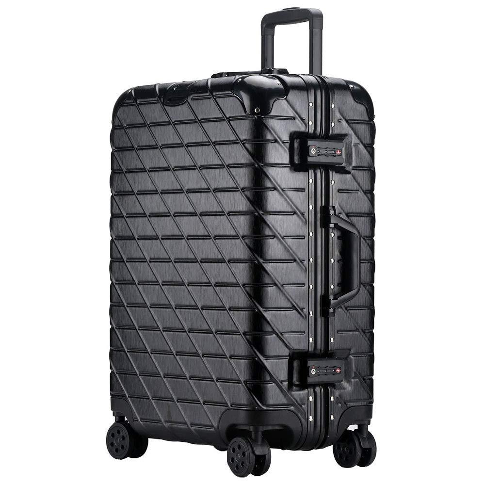 トロリーケースアルミフレームユニバーサルホイールスーツケースビジネスパスワード男性と女性がシャーシに搭乗(20/24/26/29インチ) (Color : ブラック, Size : 24 inch)   B07R8RT5T6