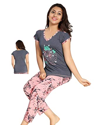 TWGE Night Suit for Kids - Grey Top and Pyjama Set - Printed Tshirt and Pyjama  Set for Children - Soft Cotton Material ... 0c255b131