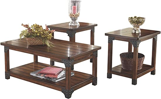 Signature Design by Ashley – Murphy 3-Piece Occasional Wooden Table Set, Medium Brown