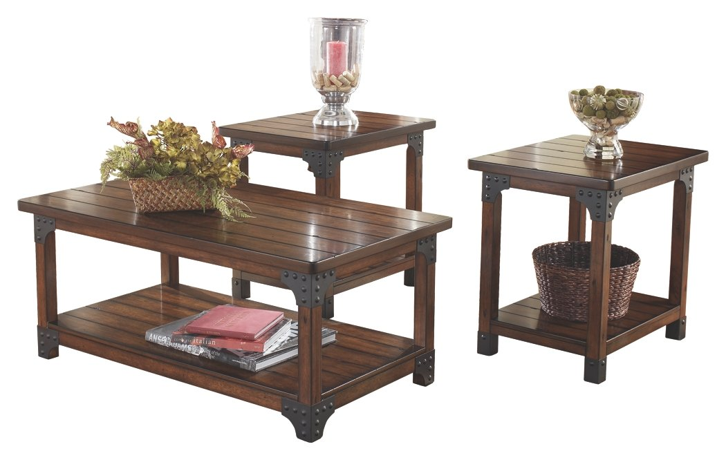 Ashley Furniture Signature Design - Murphy Coffee Table and End Tables - Cocktail Height - 3 Piece Occasional Table Set - Rectangular - Medium Brown