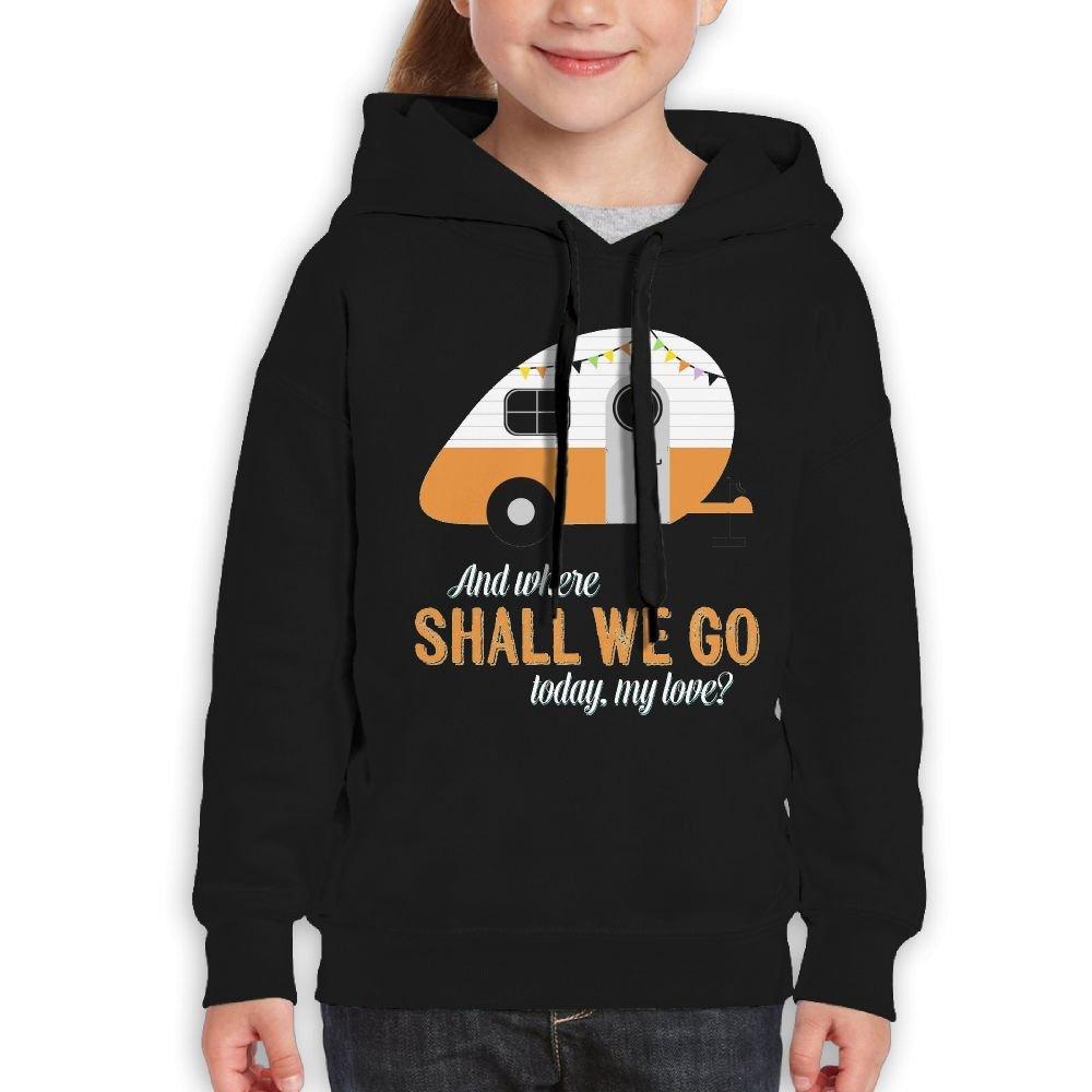 Newfood Ss Vintage Travel Trailer Teenager Pullover Hoodie Sweatshirt Teen's Hooded for Boys Girls M Black