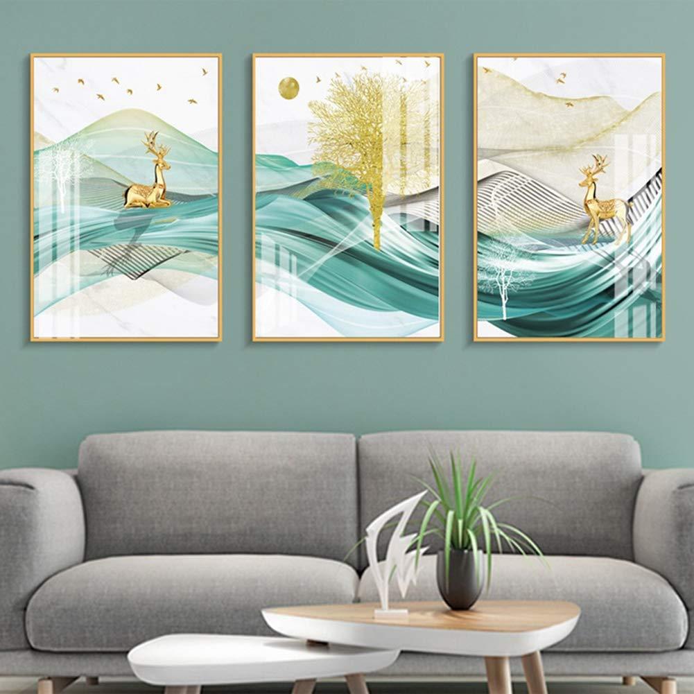 大きな3枚の壁のアート、丘の上の鹿フレーム、壁のビジュアルアートワーク、リビングルームの装飾とモダンな家の装飾を持つ風景写真,13.7×15.7in 13.7×15.7in  B07SCNL65S