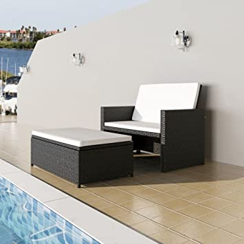 Festnight 3 in1 Rattan Lounge Set Polyrattan Loungemöbel Loungeset ...