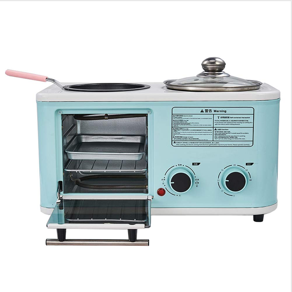JINJN Retro 3-in-1 Multifunction Breakfast Center Mini Oven Cooking Pot Non-Stick Frying Pan Frying Cooking All-Round Cooking Machine