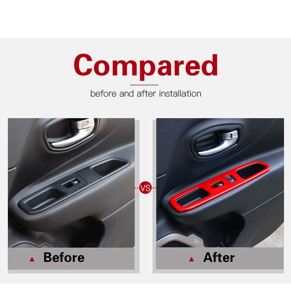 for Jeep Renegade 2015-2020 Window Lift Switch Panel Trim Interior Accessories ABS Red 4 pcs