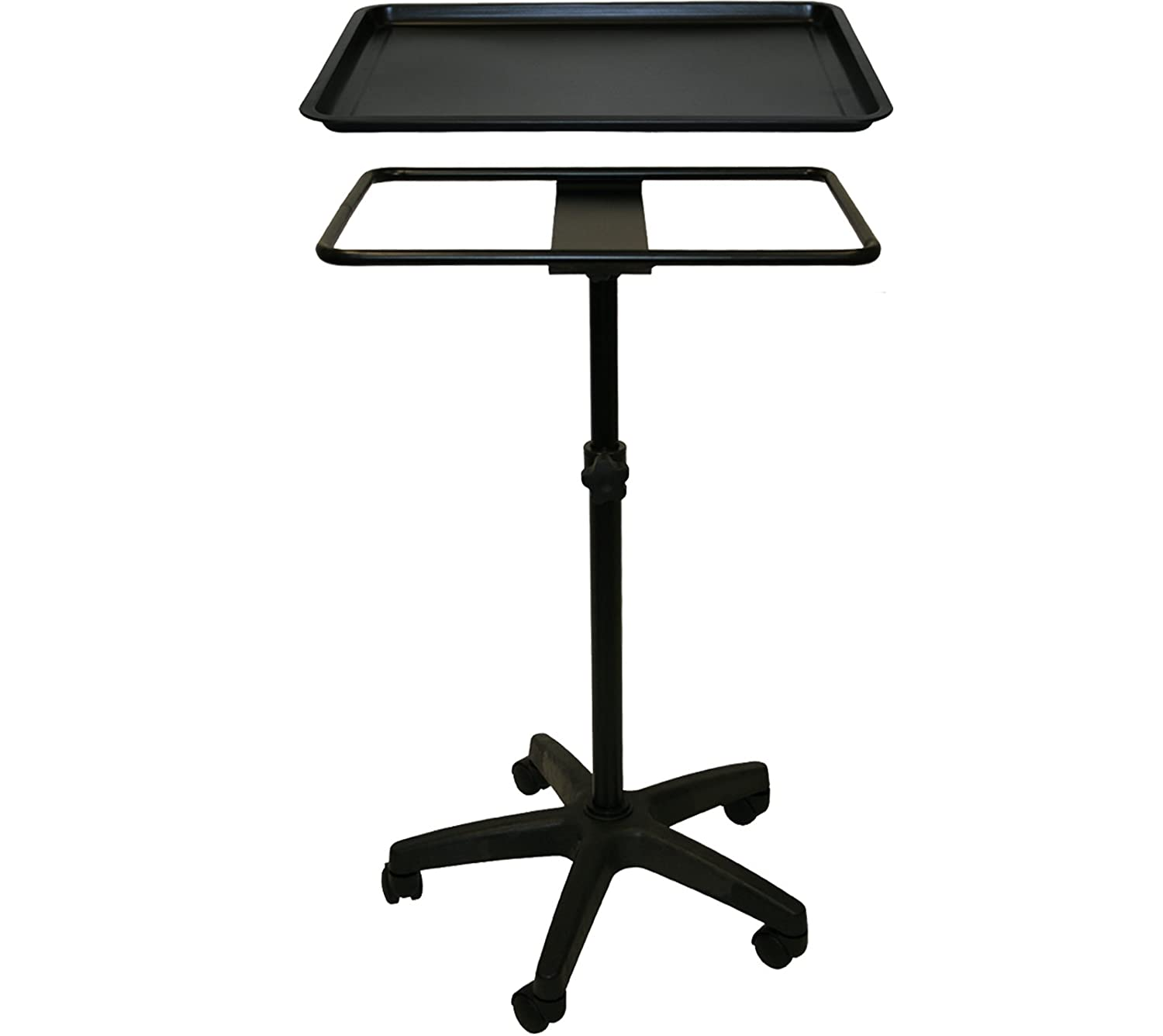 B00QSFL730 InkBed Extra Large Black Steel Single-Post Mayo Instrument Stand with Lift Out Work Tray Tattoo Salon Spa 41FXuvG2GkL