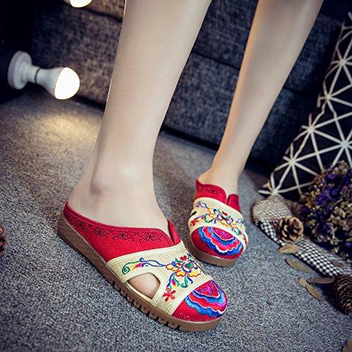 KIKIGOAL Algodón de Color y Lino Zapatillas, Zapatos Bordados Pelea Sandalias de Color, Hit Color Sandalias Femeninas, Los Tendones de Ganado Plano al Final de las Sandalias de las Mujeres Rojo