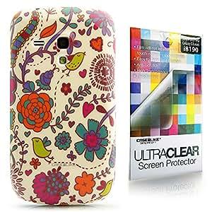 CaseiLike ® flor Floral, Snap-on duro volver funda para Samsung Galaxy S3 mini i8190 con Protector de pantalla