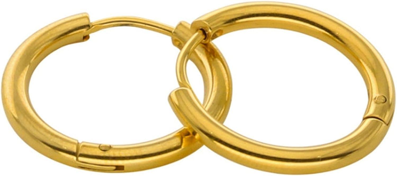 Epinki Joyería de moda Acero inoxidable 2.5MM Mujeres Hombres Aro Pendientes 1 Par Oro 12MM