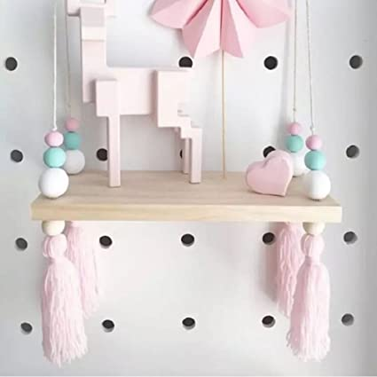 Cheerfullus Nordic Style Decorative Display Stand Wall Hanging Shelf Swing  Rope Wooden Floating Shelves Kids Room