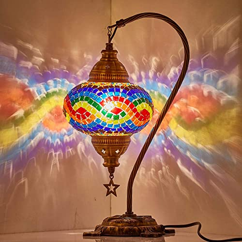 Tiffany Style Handmade Mosaic Rainbow LGBT Pride Table Bedside Accent Mood Night Lamp