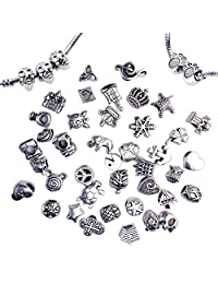 Imixshopcs Pack Of 40 PC (Approx.) Antique Silver Plated Oxidized Metal Beads Charms Set Mix Lot