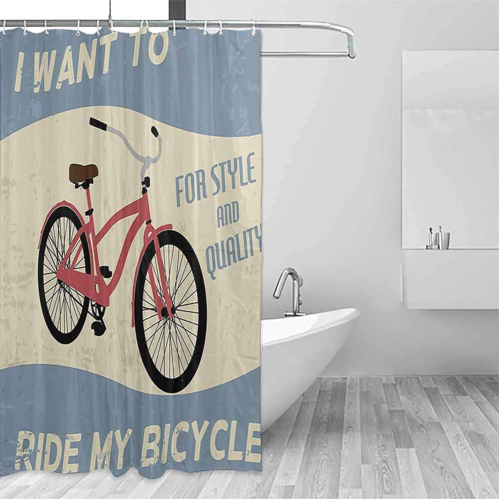 Kids Bathroom Shower Curtain 1960s Decorations Collection Quality Bike Tour Joy Vintage Grunge Poster Style Quotes I Want to Ride My Bicycle Image Shower Curtain with Hooks W60 xL72 Blue by Homrkey