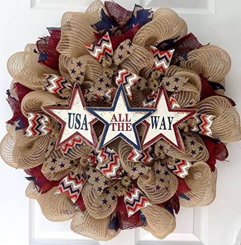 USA All The Way Patriotic Burlap Handmade Deco Mesh Wreath