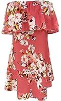 YeeATZ Women Fresh Orange Ruffle Off Shoulder Floral Boho Dress
