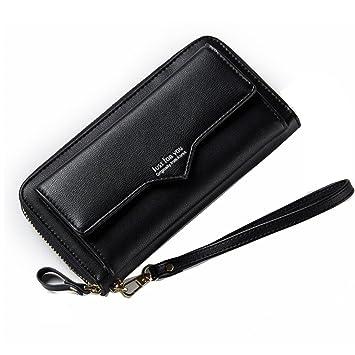 Bolsa de Hombro, Cartera Larga de Cuero para Mujer Titular de la Tarjeta Zip Around Embrague Monedero de Pulsera Monedero (Color : Black): Amazon.es: ...