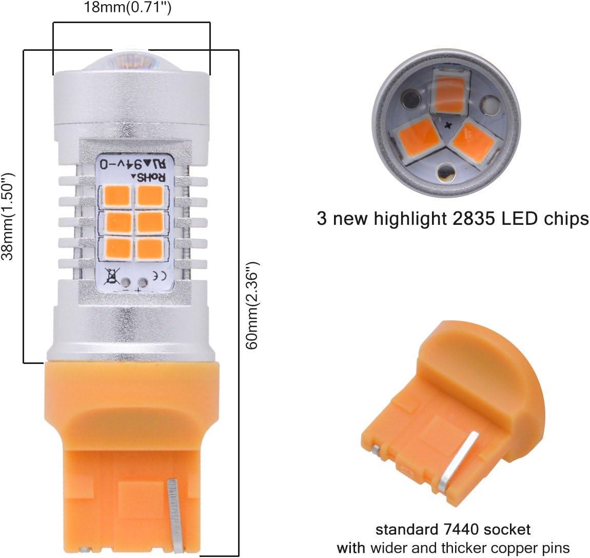 TUINCYN 7440 7440NA 7441 992 T20 LED Turn Signal Light Bulbs White Canbus Error Free 2835 21 SMD LED Light Auto Backup Brake Light DRL Parking Light with 50W 8 Ohm LED Load Resistors 2-Pack