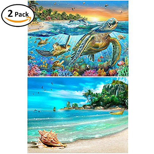 2 Packs 5D DIY Diamond Painting Paint by Numbers Kits for Adult, Turtle & Beach Full Drill Diamond Embroidery Paintings Pictures Arts Craft for Home Decoration by INFELING