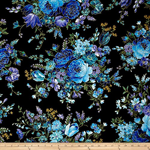 Timeless Treasures Metallic Enchanted Main Floral Black Fabric by The Yard from Timeless Treasures