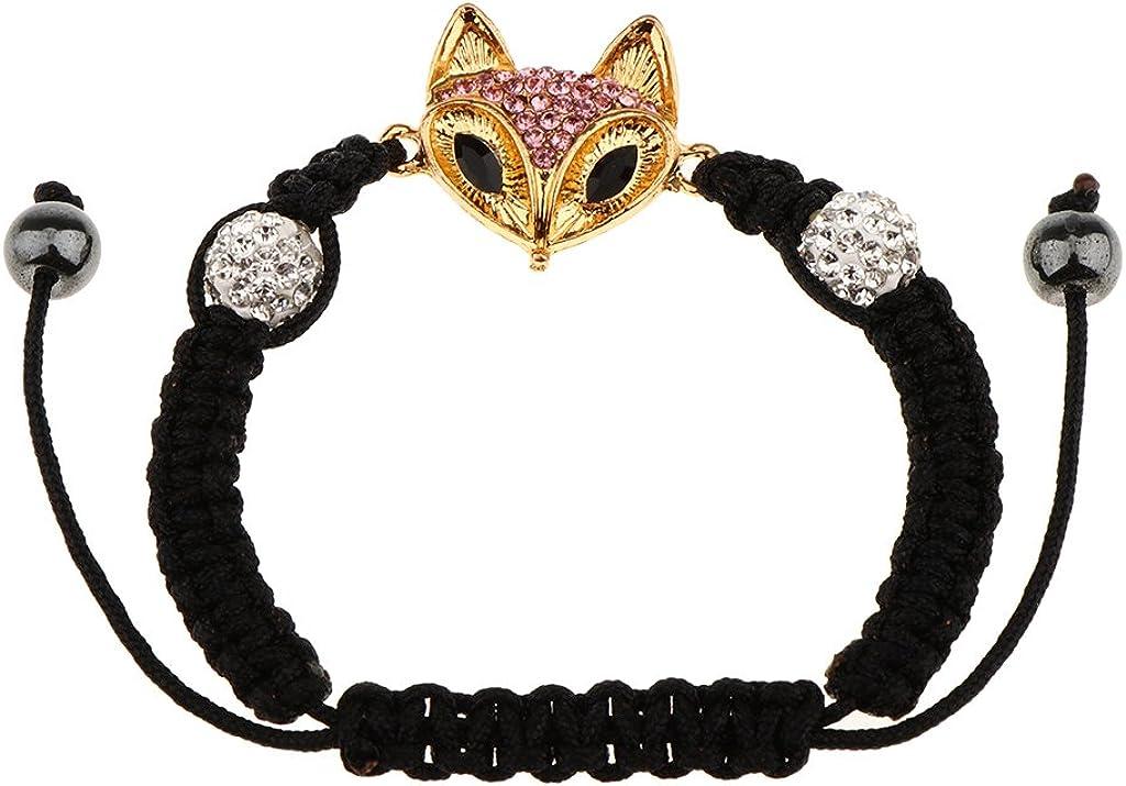 Harilla Crystal Rhinestone Lowrie Beads Redondas Pulsera Ajustable con Dijes De Macramé Trenzado