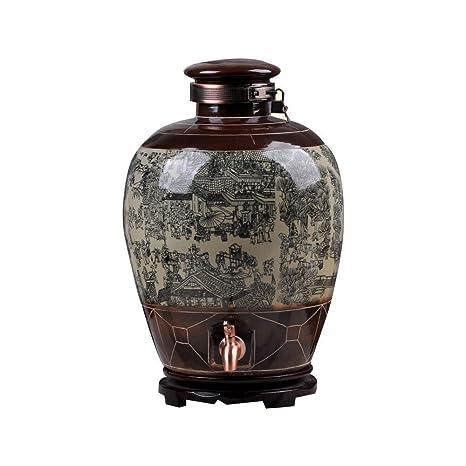 MUTANG Barril de Vino, Jarrón de Vino Antiguo de cerámica 5 ...