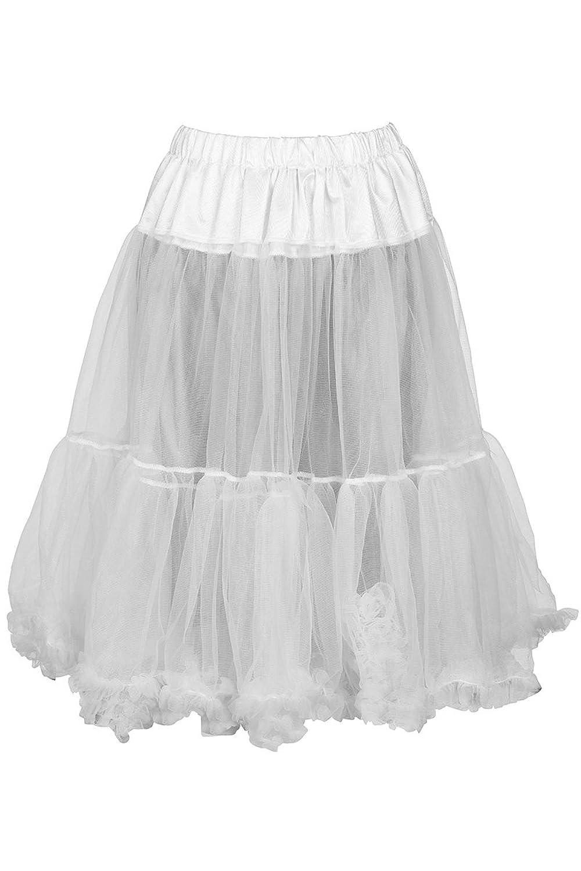 Damen MarJo Petticoat Dirndl weiß 65cm, Weiß,