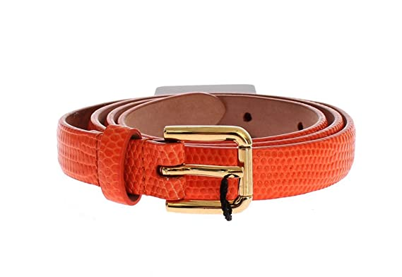 Dolce   Gabbana – Orange Effet peau de serpent Doré Boucle Logo Ceinture 7a3c127d1b4