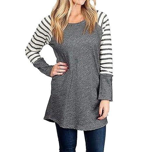 5cff9e69ee8fa6 Fashion Women T-Shirt Hosamtel Stripe Print Long Sleeve O-Neck Loose Casual Blouse  Tops Autumn Winter Shirt at Amazon Women s Clothing store