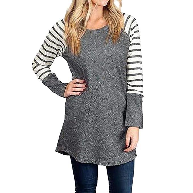 Tops Camisetas Mujer, BBestseller Otoño e Invierno Blusas para Mujer Vaquera Sexy Camisas Mujer Raya Manga Larga Blusas Sudadera con Capucha: Amazon.es: ...