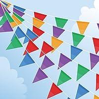 Joykey Wimpel Banner 200 Fahnen Nylon Bunting Dreieck Wimpelkette Dekoration Flagge für Party draussen Garten,100 m