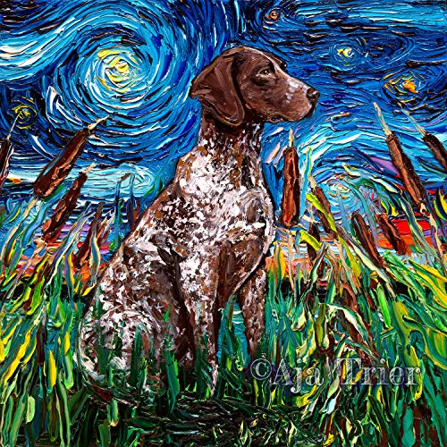 (German Shorthaired Pointer Starry Night Dog Art Print by Aja choose size and type of paper Wall decor )