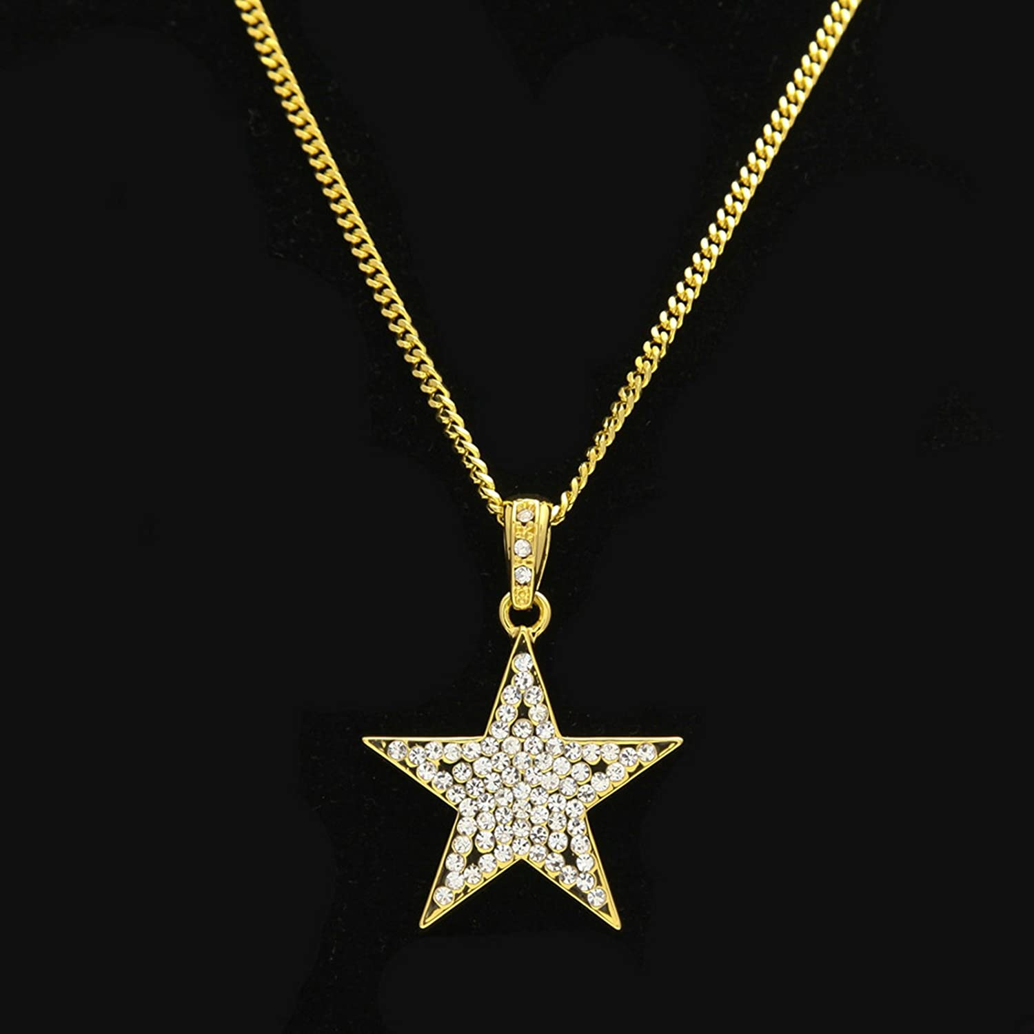 Cuban//Twist Chain 24 Aokarry Mens Womens Five-Pointed Star Iced Out Cubic Zirconia Pendant Necklace