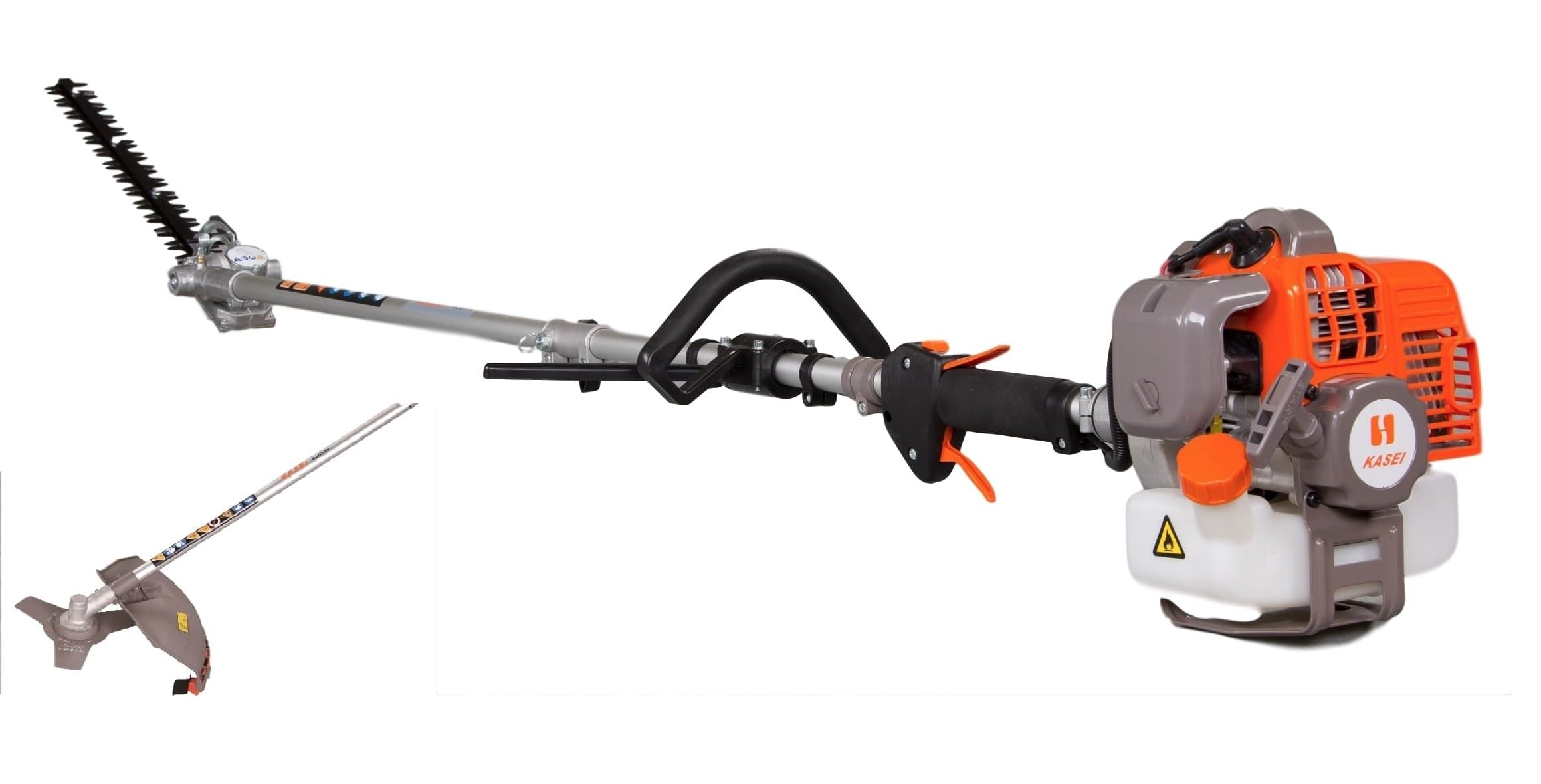 Gas Powered Pole Hedge Trimmer, Chainsaw, Brush Cutter, Line Cutter EPA Approved