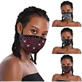 Adults Mouth Face Protective Gear, Glitter Rhinestone Reusable Washable Dustproof Air Filtration Cotton Cloth Covering