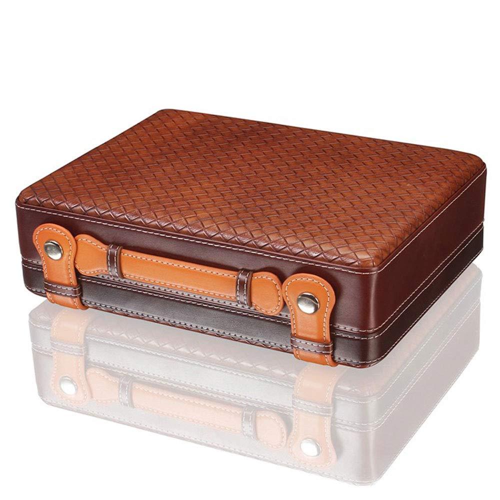 葉巻ヒュミドール シガーボックス、30パックポータブルシーダーウッドシガーヒュミドール、レザーモイスチャライジングボックスモイスチャライジングキャビネットギフトボックス水分計モイスチャライジングデバイス、サイズ:27x20x8.5cm (色 : A)  A B07NVD8R68