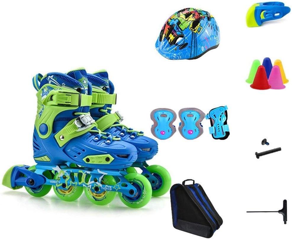 男性と女性向けの初心者の子供用インラインスケートは、快適で耐摩耗性のあるスケート靴を着用します (Color : 青, Size : S(28-31)) 青 S(28-31)