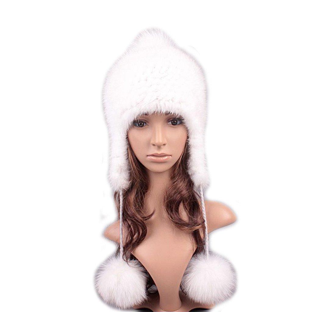 UK.GREIFF Women's Fashion Warm Stretch Mink Fur Hat Winter Cap White