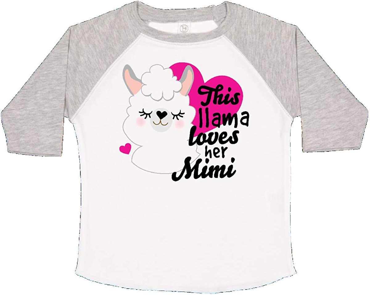 inktastic Valentines Day This Llama Loves Her Mimi Toddler T-Shirt