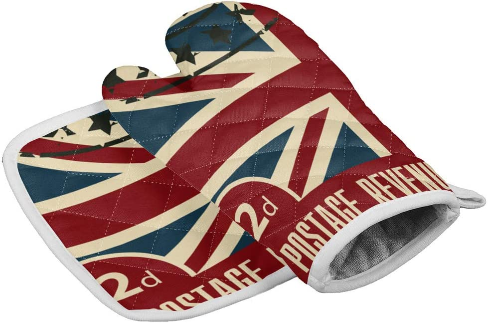 2 Pieces Extra Long Thick Oven Mitts and Pot Holders-UK Flag Stamp Collection,Non-Slip Heat Resistance Cooking Gloves for Home Kitchen BBQ